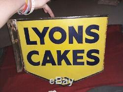 1940 Superbe Vintage Original Lyons Cakes Double Face Émail Connexion