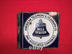 1940 Vintage Système Bell Émail Porcelaine Signe À Double Face, Bride