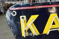 1940-années 50 Kaiser Frazer Double Face Porcelain Neon Cook Co Signe Concessionnaire Connexion