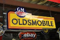 1940s-50s Oldsmobile Porcelaine Double Face Neon Sign