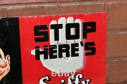 1940s Spiffy Cola Soda Publicité Double Sided Tin Flange Sign Par Permanent Sig