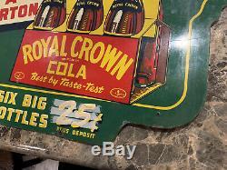 1941 Rc Royal Crown Cola Six Pack Vert Nehi Double Face Hanging Soda Rare Inscrivez-vous