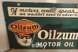 1946 Oilzum Si Motors Pouvait Parler Signe Double Face
