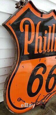 1950 48 Phillips 66 Originaux Publicité Signe Double Face En Porcelaine Avec Bague