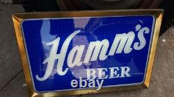 1950 Hamm's Beer Light Up Inverse Painted Glass Double Side Sign Works