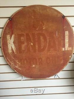 1950 Vintage Kendall Moteur Signe Huile, 2 Pi Double Face Rouge
