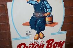 1954 Original Dutch Boy Paints Rare Double Sided Tin Flange Signe