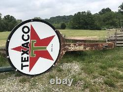1958 Signalisation De La Station-service Texaco. Porcelaine Double Face 6 Signe Et 18 Pôle
