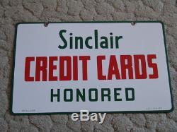 1959, Signe De Carte De Crédit Sinclair En Porcelaine À Double Face, Nouveau Stock Ancien