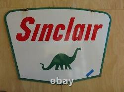 1961 Sinclair Dino Double Face Gaz Et Huile Porcelaine Signe 60 X 43 Couleur De Nice
