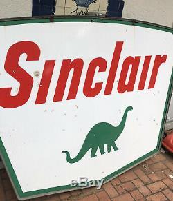 1961 Sinclair Double Face Porcelaine Gaz Et Signe Huile! 5x7 Pieds! État De Nice