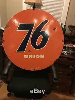 1961 Union 76 Oil Gas Originale À Double Face Porcelaine Signe