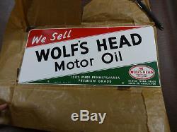 1963 L'huile De Moteur De Nos Wolf's Head Peut Contenir Un Signe D'étain Double Face En Porcelaine