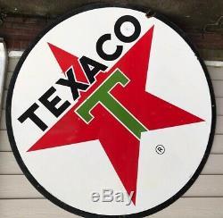 1967 Porcelaine 6 Pieds Diamètre 72 Texaco 2 Faces Essence Huile Signe Double Face