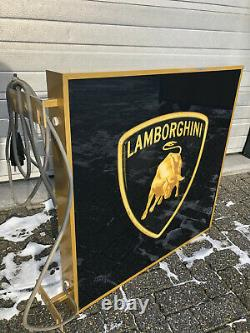 1990 Lamborghini Concessionnaire Officiel Double Côté Lumineux Signe