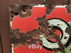 20 Ans Rare Vtg Oak Huile Moteur Double Sided Porcelaine Inscrivez-26x16.75 Frontier Co Ny