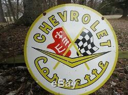 24 Double Sided 1963 Corvette Émail Signe Du Golfe Texaco Chevy