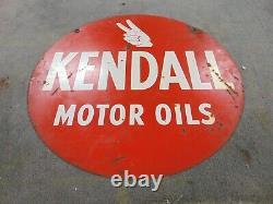 24 Old Vintage Original Kendall Motor Oils Signe Double Sided Enamel Sign