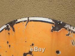 30 Dsp Gulf Oil Gas Station Signe Porcelain Double Face Rare Original