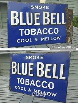 30s Blue Bell Tabac Double Face De Mélange Émail Panneau Publicitaire 20 X 14