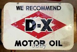 40s-50s Vintage DX Signe D'huile Moteur Porcelaine À Double Side