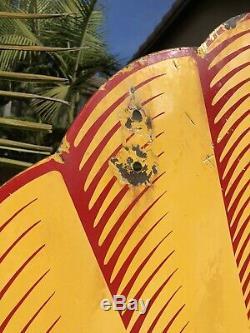 48 D'origine Tiger Stripe Shell Station Service De Gaz Double Face En Porcelaine Connexion