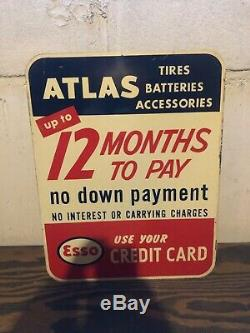 50s Vintage Les Pneus D'origine Esso / Atlas Batteries Double Face Carte De Crédit Connexion