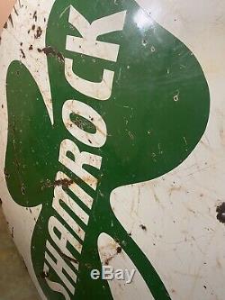 72 Super Rare Original Et Authentique Shamrock Gas Oil Double Face Porcelaine Signe