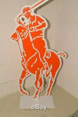 90 Vtg Ralph Lauren 2 Faces Enseigne Affichage Publicitaire Big 44 Polo Jockey