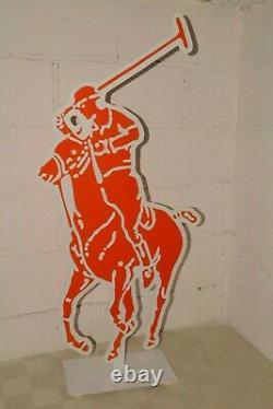 90s Vtg Ralph Lauren 2-sided Store Signe Affichage Publicitaire Big 44 Polo Jockey
