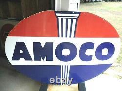 Amoco 1958 6ft Porcelain Sign Double Sided 1958 Sps 6ft X 4ft Hard 2 Find