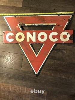 Ancien Panneau De Station Service En Porcelaine De Conoco Double Face 30x 25 Triangle