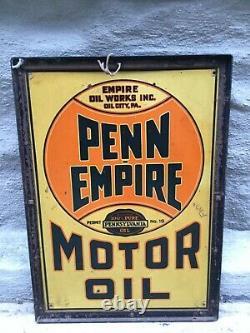 Ancien Panneau Vintage Original Penn Empire Motor Oil Oil City Pa USA Double Face