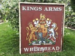 Ancien Pub Anglais Antique Kings Arms Enseigne Double Face Peinte À La Main