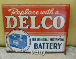 Anciennes Delco Batterie Signe Double Face Bride 22x16