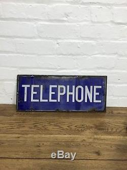Années 1930 Original En Émail Double Face Signe De Téléphone Antique Décoratif