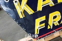 Années 1940-1950 Kaiser Frazer Double Face En Porcelaine Néon Cook Sign Co Signe Du Concessionnaire