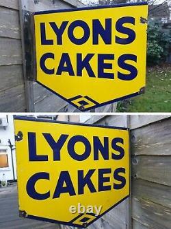 Années 1940 Double Face Lyon Cakes Émail Porcelaine Connectez-vous