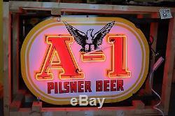 Années 1940 Original Pilsner Beer A-1 Double Face En Porcelaine Phoenix Neon