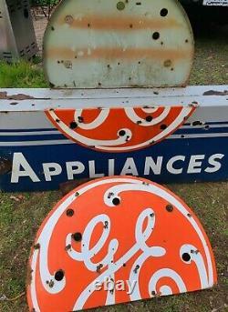 Années 1940 Porcelaine Neon G. E. Appliance Signe Double Côté Publicité