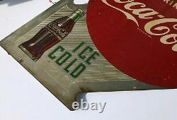 Antique 1951 Coca Cola Double Sided Metal Flange Signe Daté
