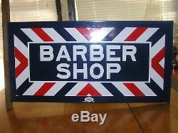 Antique Barber Shop Signe, Poteau, Vintage, Porcelaine, Bride Double Face