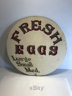 Antique Bilaterale Sign-peint À La Main Œufs Frais 22 Diamètre