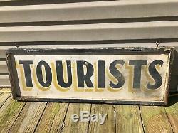 Antique Bois Peint Touristes Signe Double Face Vintage Aafa