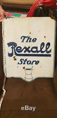 Antique C. 1910 Drogues Rexall Hanging Swinger Connectez-vous En Émail Vitrifié, Double Face