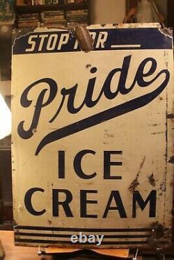 Antique Des Années 1940 Perry's Pride Ice Cream Porcelain Double Sided Sign Tuscaloosa Al