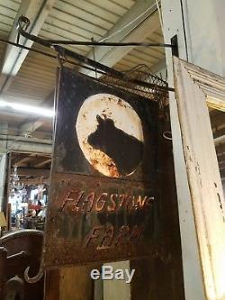Antique Double Face Ferme Commerce Signe Cheval Vache Dallage Ferme