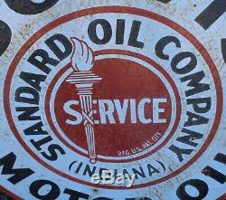 Antique Double Face Iso-vis Standard Oil Indiana Huile Moteur Publicité Ronde