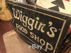 Antique Double Face Wiggins Publicité Alimentaire Commerce En Bois Signe C. 1910