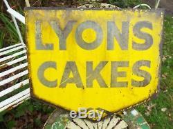 Antique Lyon Cakes Émail Boutique Double Signe Original Face Avec Support Mural